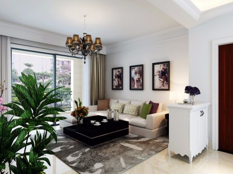 合肥银杏尚80平米简单风格二居室装修效果图