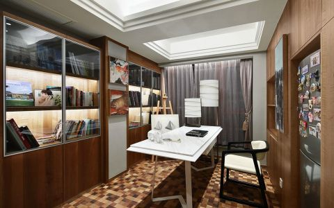 书房博古架简约风格装潢设计图片