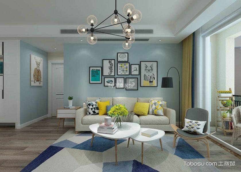 泰安御蓝山小区130平北欧风格三居室装修效果图