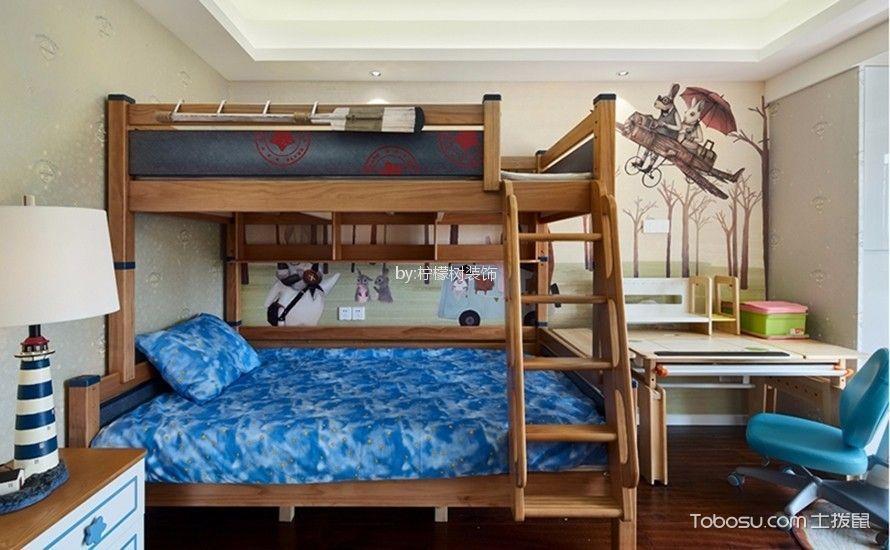 儿童房蓝色床新中式风格装潢设计图片