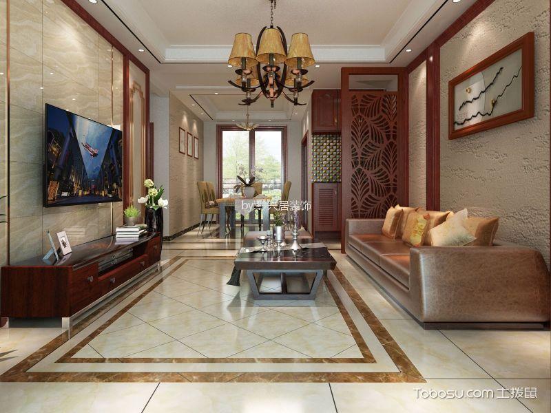 客厅地砖现代中式设计图欣赏图片