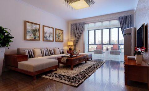 现代中式风格120平三居室装修效果图