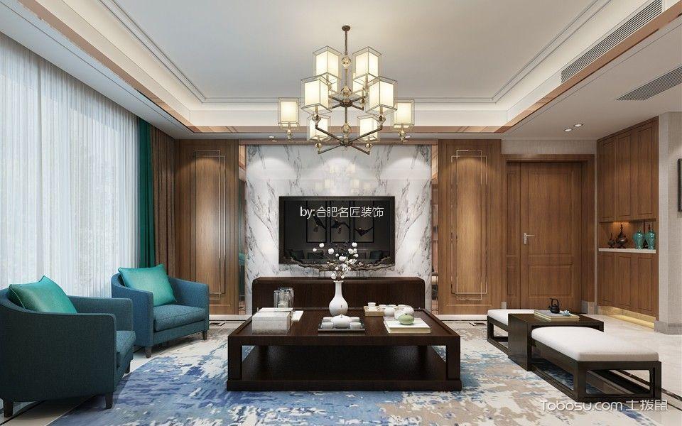 旭辉湖山源著洋房145平方四居室户型新中式风格设计效果图