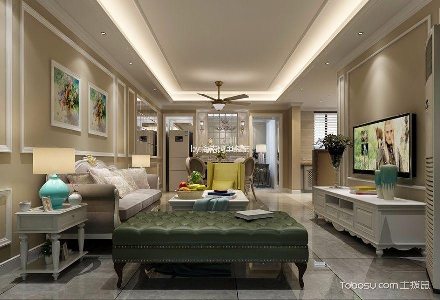 绿地中央文化城美式风格125平套房装修效果图