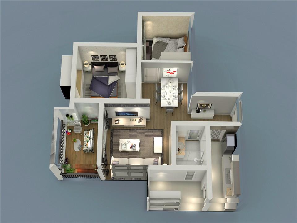 2室1卫2厅74平米现代简约风格