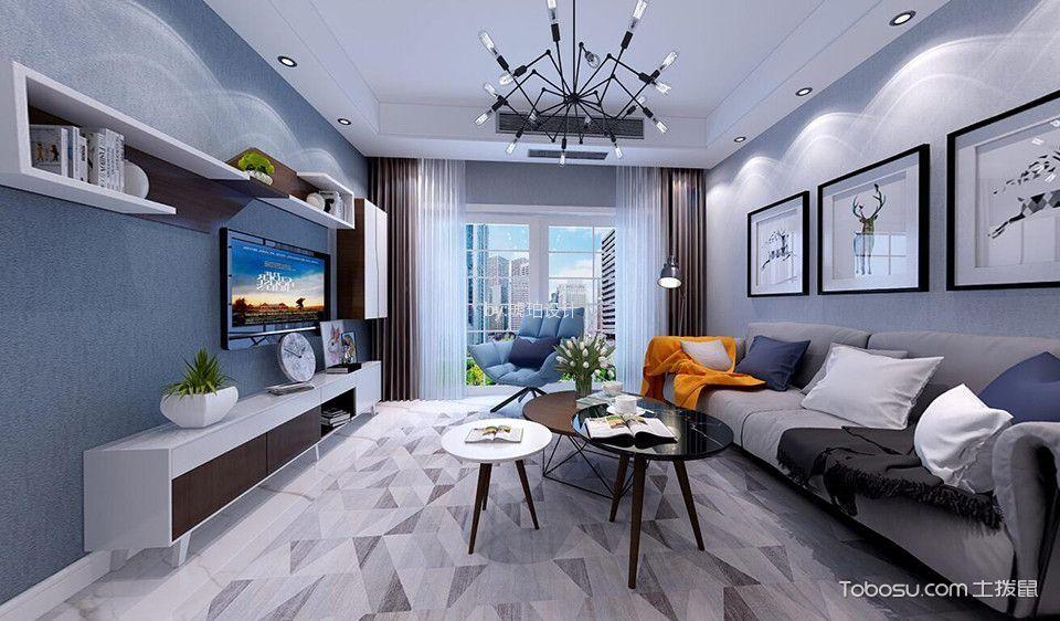 凯尔枫尚98㎡北欧风格两居室装修效果图