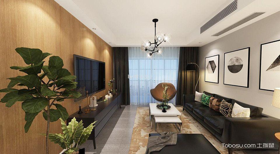 6万雨润城114㎡现代风格三居室装修效果图