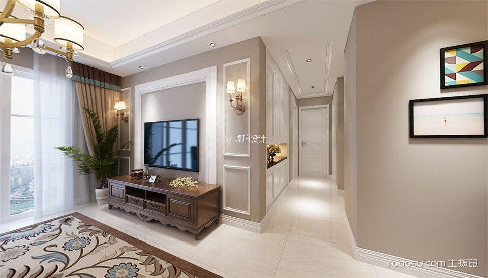 华润国际116㎡简美风格三居室装修效果图