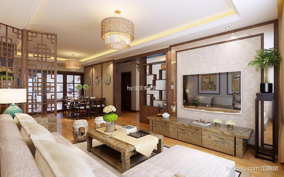 花溪地120平米新中式风格三居室装修效果图