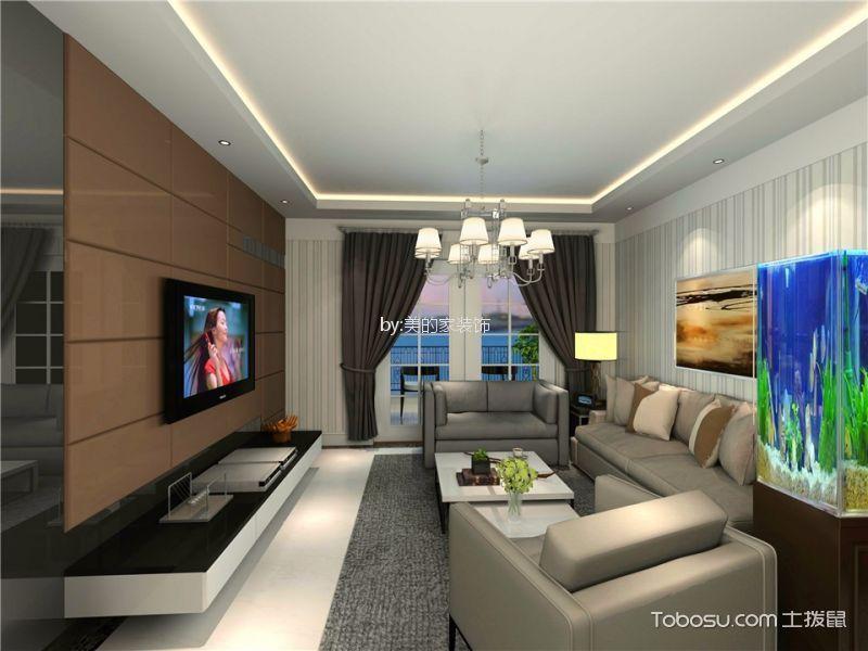 国瑞爱与山112平现代简约三居室装修效果图