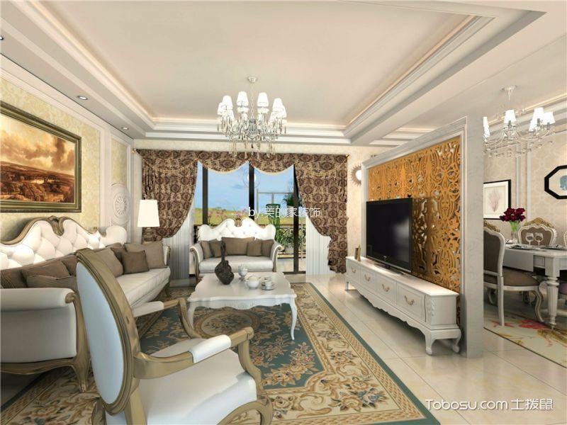 国瑞爱与山120平新古典风格三居室装修效果图