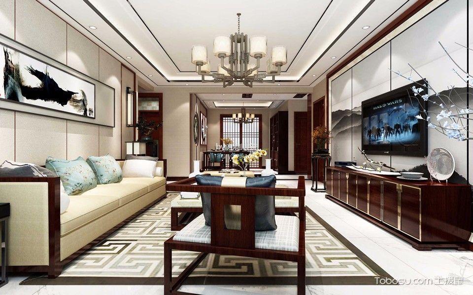 中兴和园120平三室新中式风格效果图