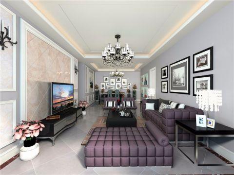 现代欧式风格102平米三室两厅室内装修效果图
