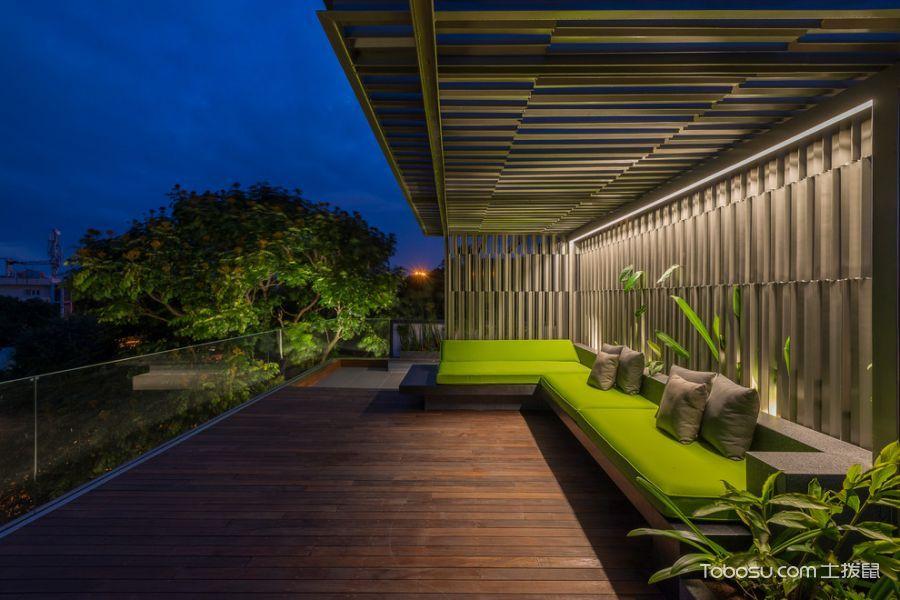 阳台咖啡色地板砖现代风格装潢设计图片
