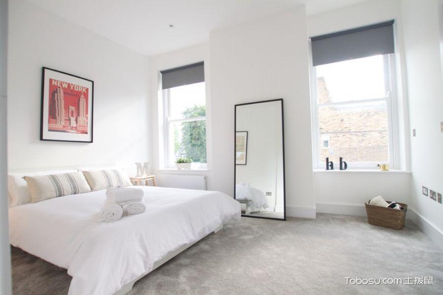 卧室灰色地板砖北欧风格装饰设计图片