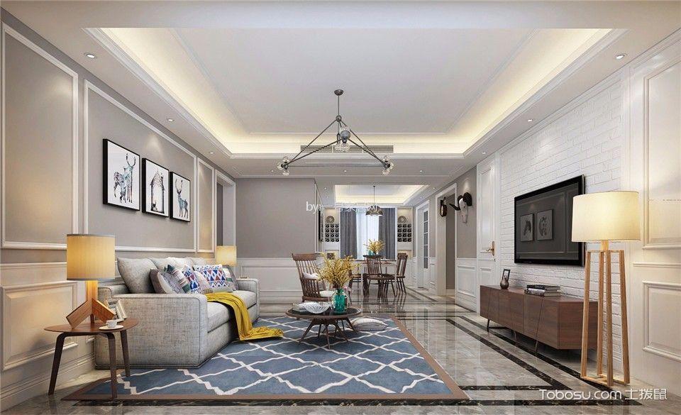 双湖花园150平三居室简美风格装修案例效果图