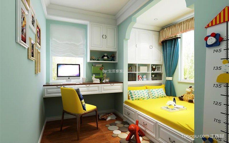 儿童房蓝色床新中式风格装潢效果图