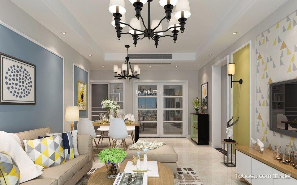 鑫雅苑119平方米现代简约两居室装修效果图