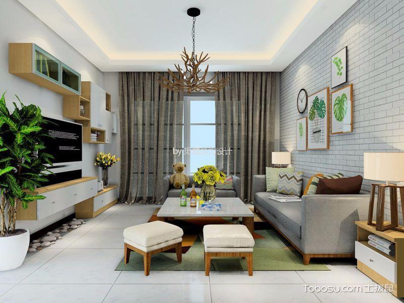 旭景豪庭100平米简约风格两室一厅装修效果图