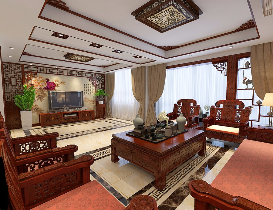 4室2卫2厅200平米新中式风格
