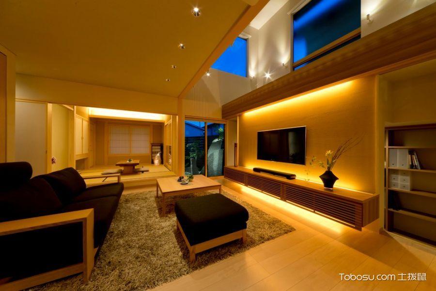 客厅黄色沙发日式风格装潢设计图片