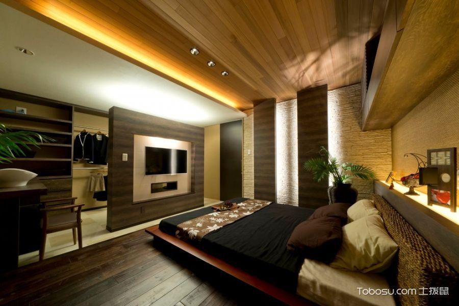 卧室咖啡色床日式风格效果图