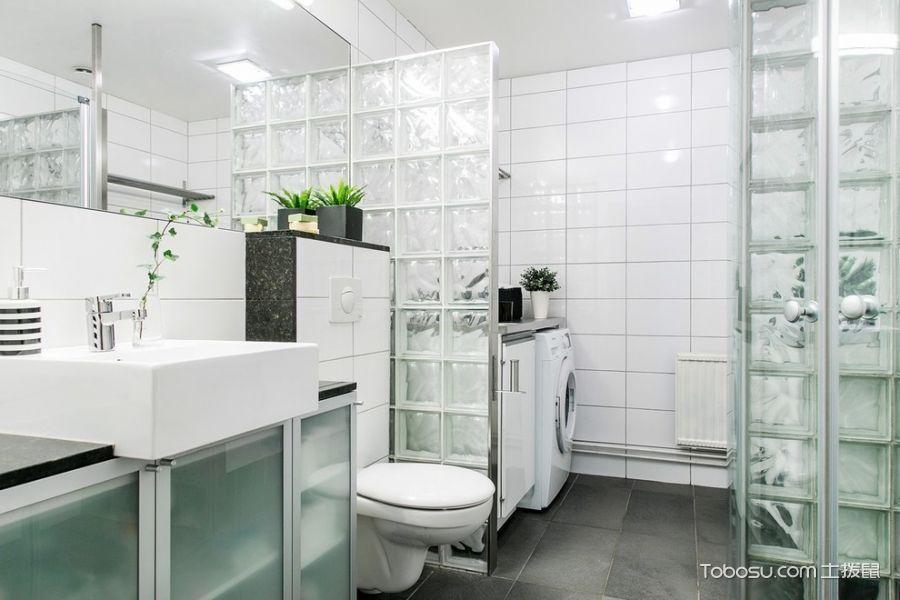 浴室白色背景墙北欧风格装修设计图片