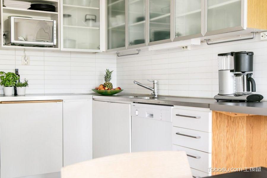 厨房白色背景墙北欧风格装潢效果图