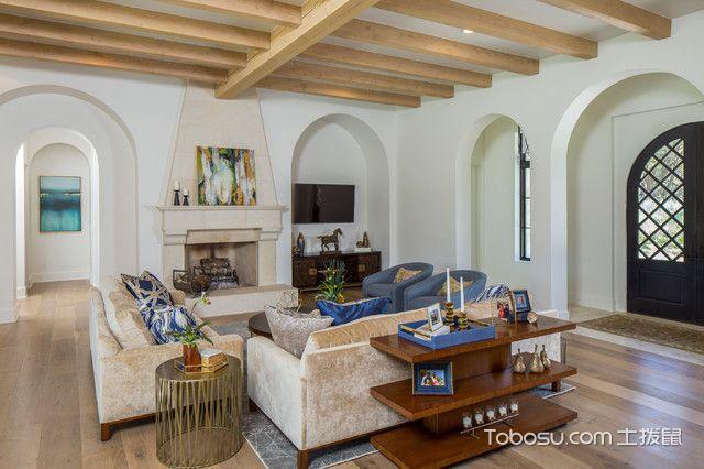 客厅咖啡色地板砖地中海风格装修效果图