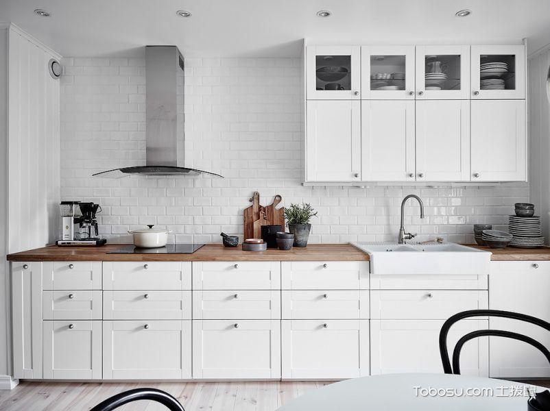 厨房白色背景墙北欧风格装修设计图片
