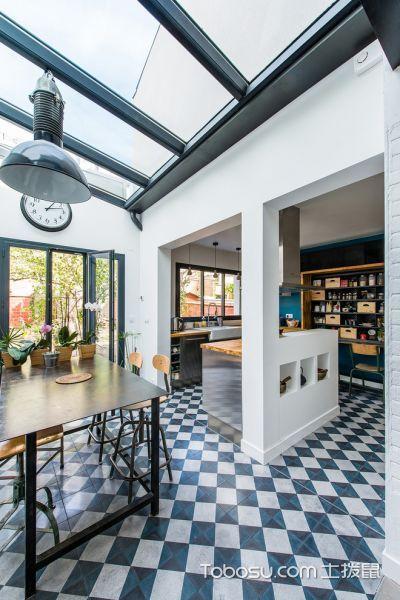 厨房蓝色地板砖北欧风格装潢图片