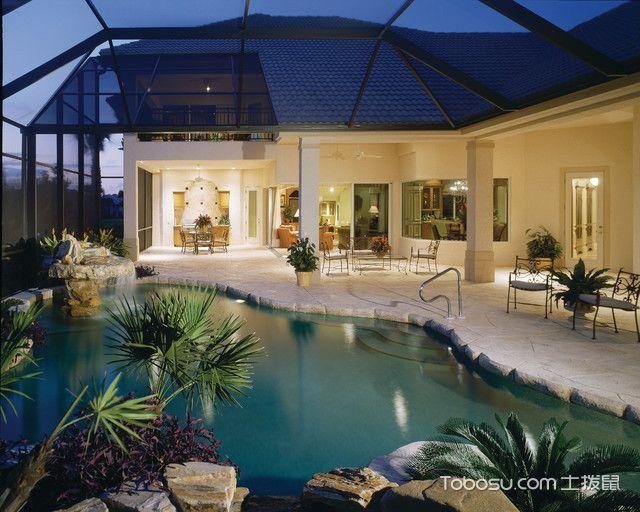花园蓝色泳池地中海风格装潢效果图