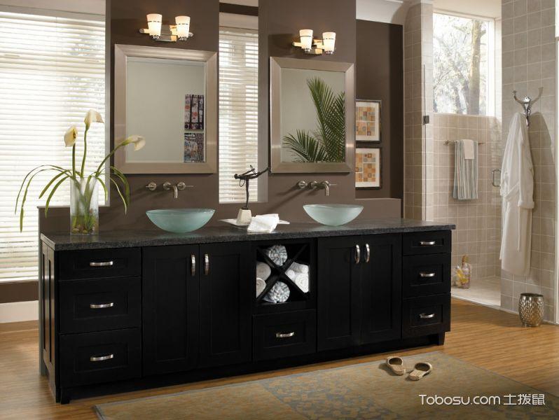 浴室咖啡色洗漱台混搭风格装潢设计图片