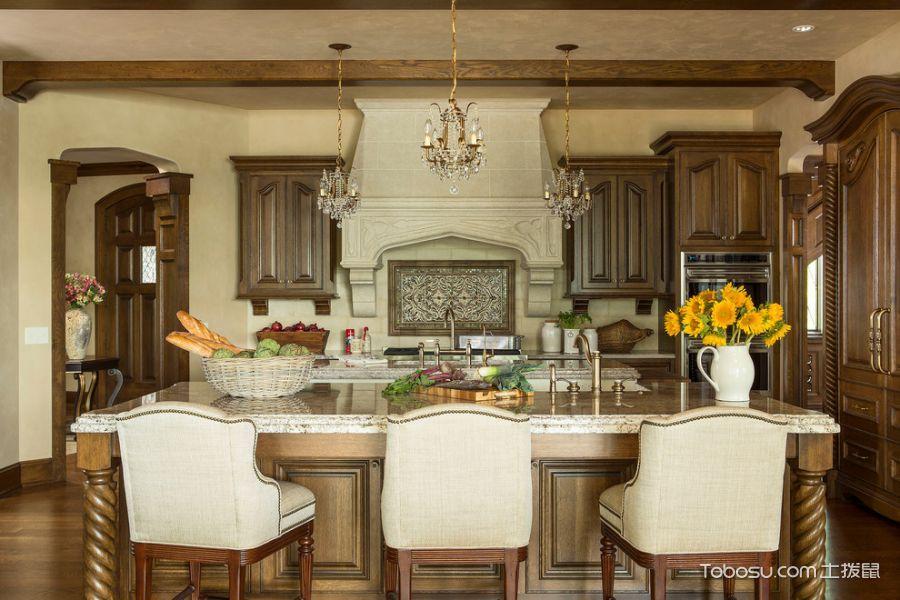 厨房白色灯具美式风格效果图