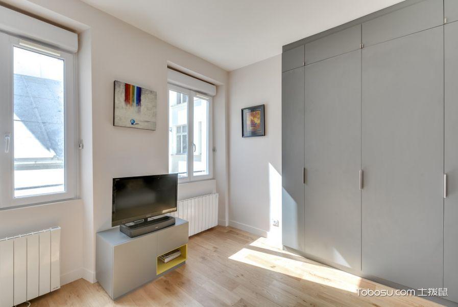 客厅白色地砖北欧风格装修设计图片