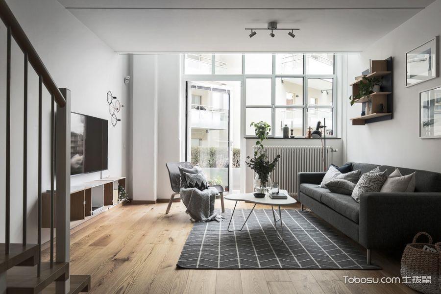 客厅灰色楼梯北欧风格装修图片