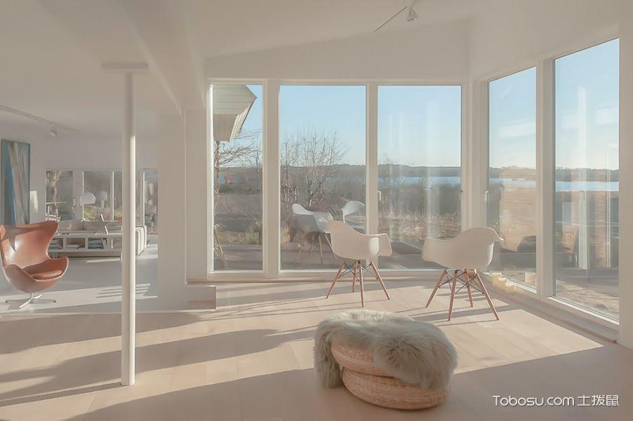 客厅白色落地窗北欧风格装饰效果图图片