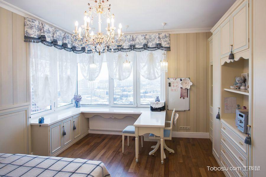儿童房米色书桌简欧风格装修设计图片