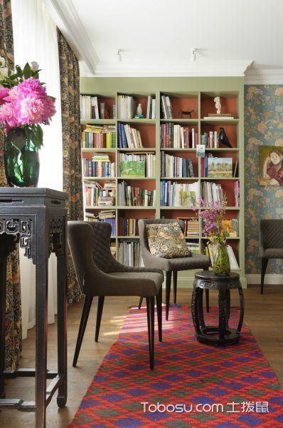 客厅红色书架美式风格装潢效果图