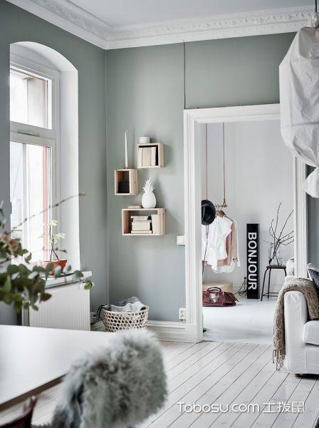 客厅绿色窗台北欧风格装修效果图