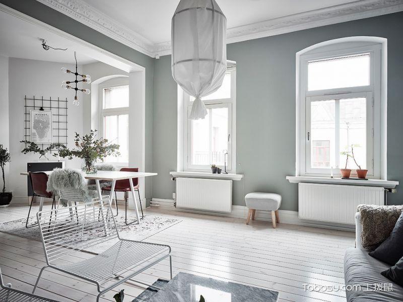 客厅绿色窗台北欧风格装饰效果图