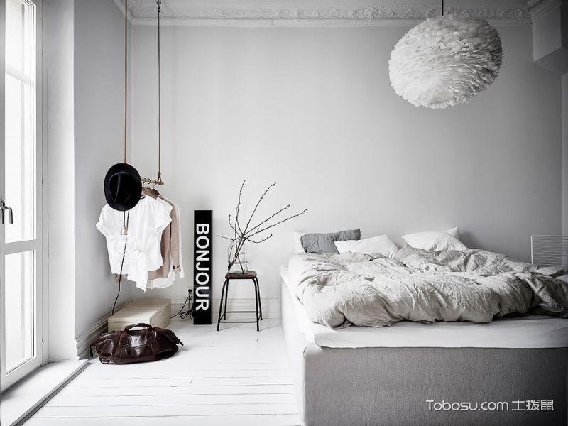 卧室白色背景墙北欧风格装潢图片
