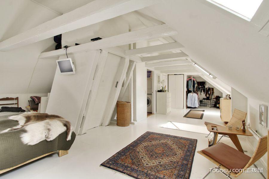 卧室白色背景墙北欧风格装修图片