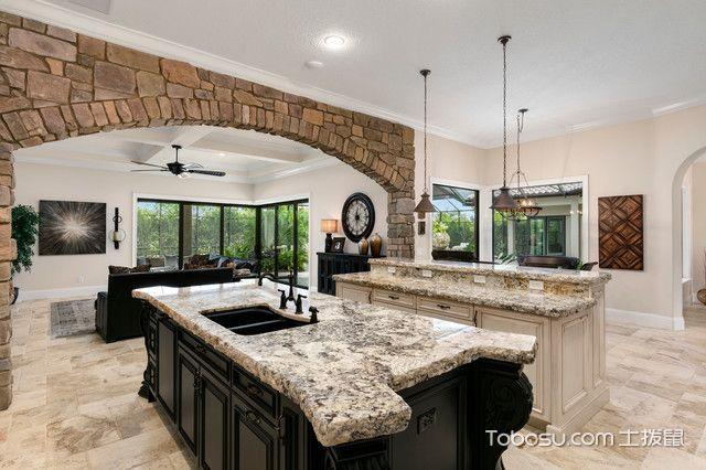 厨房白色厨房岛台地中海风格装潢设计图片