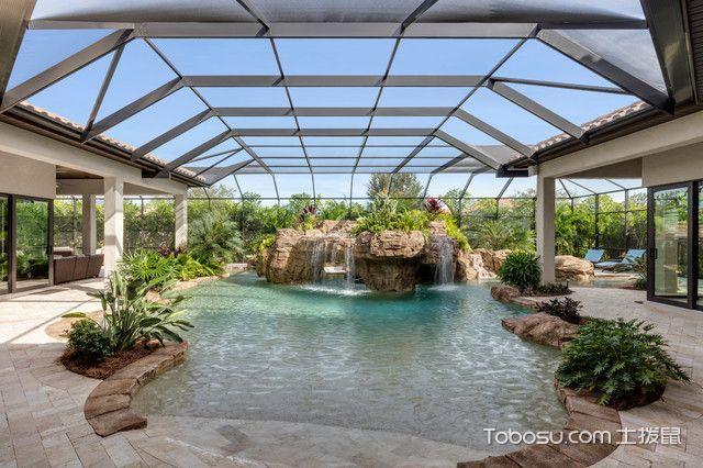 花园米色泳池地中海风格装潢效果图