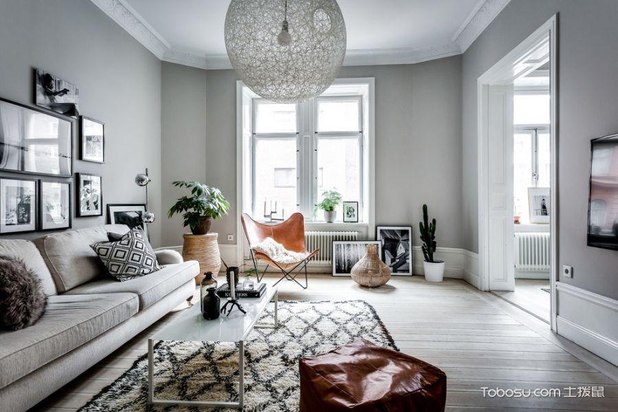客厅白色窗台北欧风格装潢图片
