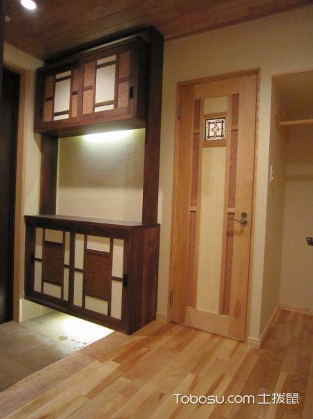 玄关咖啡色走廊日式风格装饰效果图