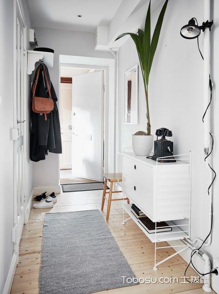 玄关白色鞋柜北欧风格装饰图片