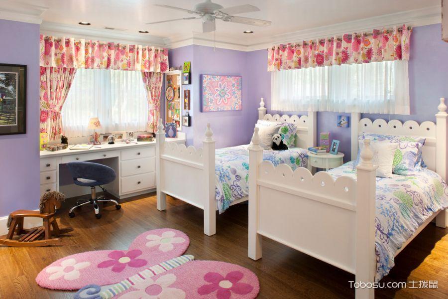 儿童房粉色背景墙简欧风格装饰设计图片