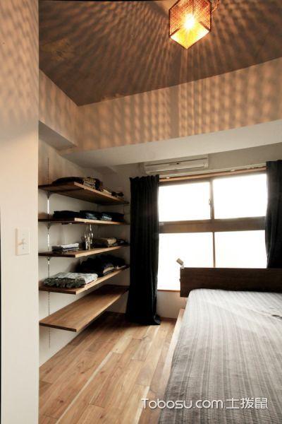 卧室黑色窗帘日式风格装潢设计图片